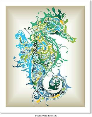 Abstract Seahorse Art Print Home Decor Wall Art Poster - C