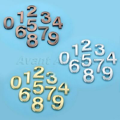 Plastic Door Numbers Plate Plaques Sign Stickers Polished Self Adhesive 3D 5cm