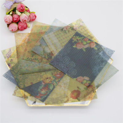 10pcs vintage flowers vellum paper stickers for scrapbooking card making~GN