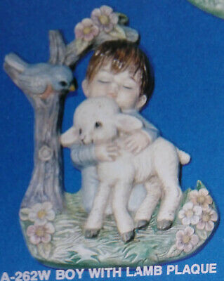 Ceramic Mold Boy with Lamb Plaque  Alberta A-262W Used