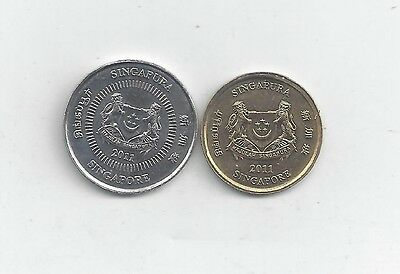 2 NICE COINS from SINGAPORE - 5 & 10 CENTS (BOTH DATING 2011)