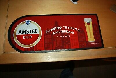 "Amstel Bier - Flowing Through Amsterdam - Official Bar Mat 20""Long Curved End"