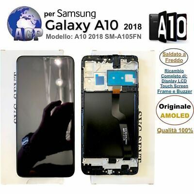 Display LCD Touch Screen Frame per Samsung Galaxy A10 2018 SM-A105FN Nero ORI