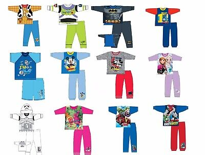 Boys Girls Kids Baby Toddler Teenage Long Sleeve Character Pyjamas pjs 1-10 Yrs