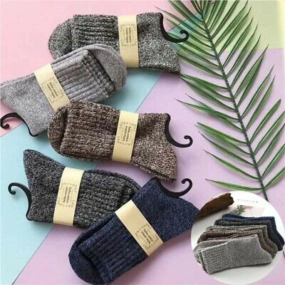 Socks Wool New Sports Solid Men Thick Cashmere Winter Casual Soft 5 Pairs Warm
