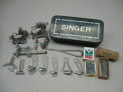 Vtg Singer Sewing Machine Attachments Feet Needles Nice Black Tin Box Low Shank