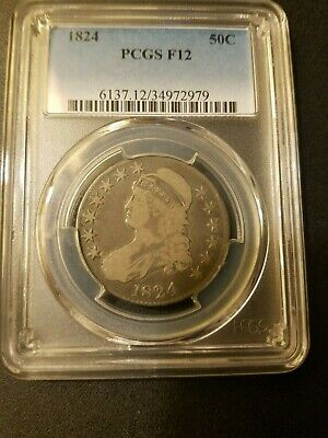 1824 Capped Bust Half Dollar * PCGS F12 * Original Surfaces *