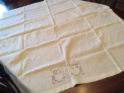 Linen tablecloth with crochet lace insets (47 x 42 inches )- H