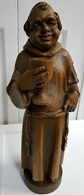 "Large 20"" Hand Carved Wood Friar Monk Statue Oberammergau Germany  Drinking Monk"