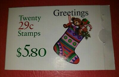 US MNH Postage Stamps-Scott #2872 Greetings Stocking 29c Booklet of 20 (1994)