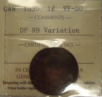 Canada Victoria 1859 DP N9 Variation Large Cent - ICCS VF-20 (XUG 825)