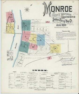 Monroe, Louisiana~Sanborn Map© with 10  maps made in 1893  put on a CD