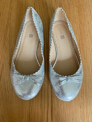 Girls Silver John Lewis Christmas Party Shoes Size Uk 2 Ex Condition!