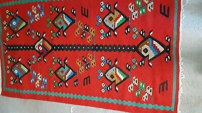 Authentic Hand-Made Wool Rug Vintage Bulgarian Traditional Rug ''Chiprovtsi''