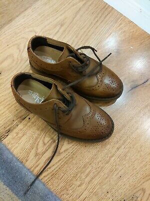 Children's Size 10 M&S brown/tan boys formal leather brogue shoes