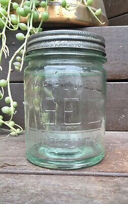 Vintage AGEE GREEN GLASS JAR With LID 1952 Kitchenalia/TERRARIUM