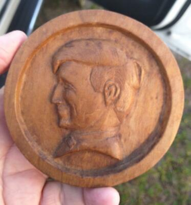 Antique Old Wood Carving Wooden Carved Medallion Man Male Head Art Sculpture