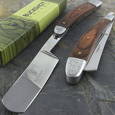 "10"" STRAIGHT EDGE FOLDING STEEL RAZOR WOOD HANDLE Shaving Knife Barber Beard"