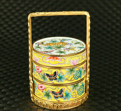 old Chinese colour enamels cloisonne Hand painted butterfly three layers box