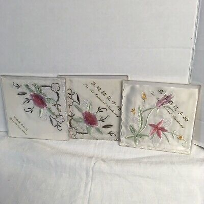vintage silk embroidered handkerchief - Lot Of 3 Floral Flowers
