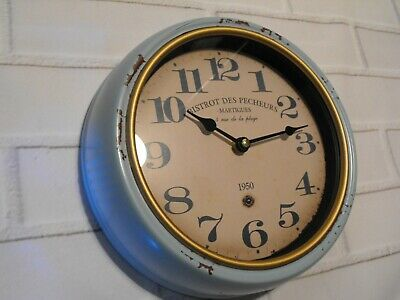 FRENCH STYLE WALL CLOCK SHABBY CHIC KITCHEN LOUNGE BLUE METAL ROUND CLOCK wall