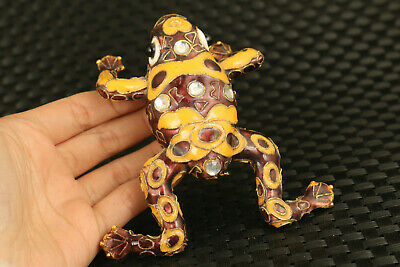 unique chinese old cloisonne hand painting frog statue figure