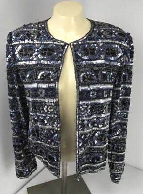 PAPELL BOUTIQUE EVENING BEADED SEQUIN SILK CRUISE Bright JACKET SZ 8 Blue Silver