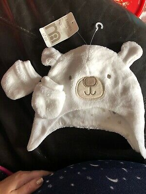 Mothercare Hat And Mittens Fleecy Age 3-6 Months! Unisex White BNWT