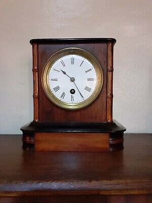 Victorian 8 Day Mantle Clock Wooden Case.
