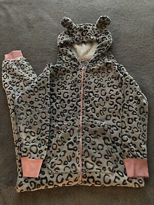 Next Girls Hooded Leopard Onesie (not Gerber), Age 12 In Excellent Condition