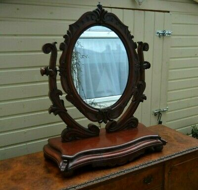 Fabulous Large Carved Mahogany Swing Mirror Antique Style Bedroom Secret Drawer