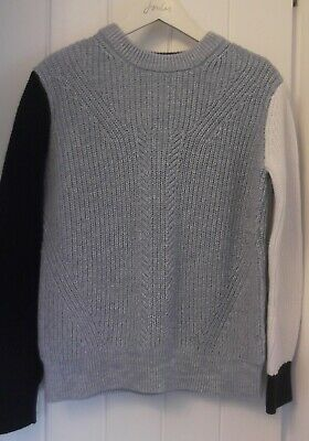Marks & Spencer Pale Blue Navy White Block Cable Cotton Jumper Small 8/10