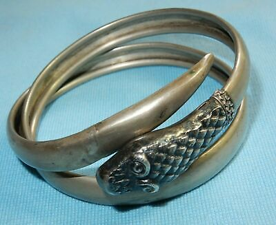 Antique Victorian Rare Snake Head Bangle Coiled Sprung Egyptian Revival Bracelet