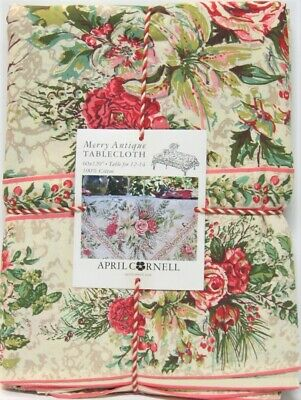 April Cornell Border Print Tablecloth Merry Floral Antique Ivory 60 x 120 NEW