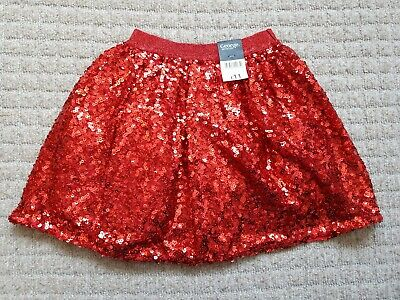 BNWT girls Size / Age 6-7 years George red sequin Christmas party skirt new