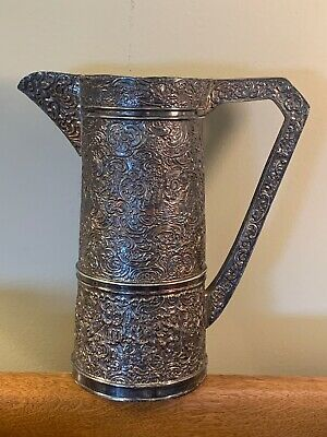 "Large Antique Barbour Silver Plate Repousse Dutch Scene 9.25"" Water Wine Pitcher"