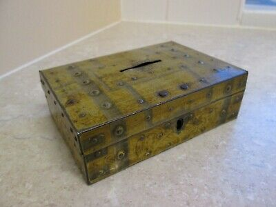 Antique Tin Moneybox - Strongbox Safe  -  C.1900