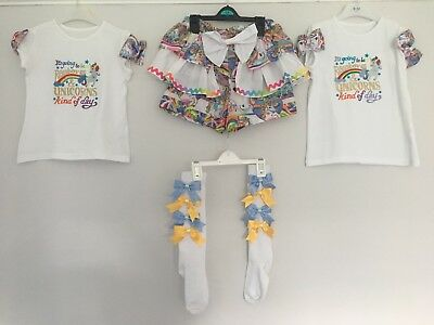 Girls Unicorn Party Shorts Outfit Top Age 4-5 5-6 Knee High Socks With Bows FAB!