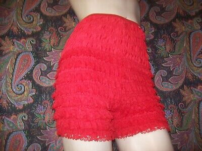 Vintage Red Cotton Blend Lacy Ruffled Dance Panty Panties