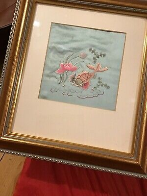 Japanese Silk Embroidery Of A Fish In A Frame