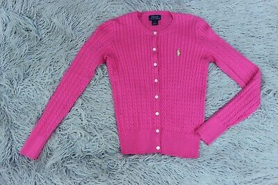 NWT Polo Ralph Lauren Cardigan Girls Sweater Cable Knit Pony Logo Button Front