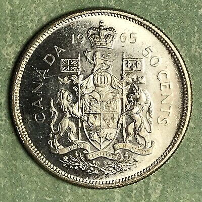 1965 Canada 50 Fifty Cent Silver Collector Coin. Free Shipping