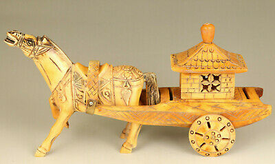 old deer horn carving horse pull carriage statue noble table decoration