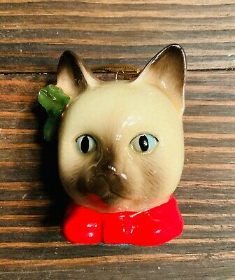 Vintage MCM Siamese Cat Christmas Ornament with Holly berry