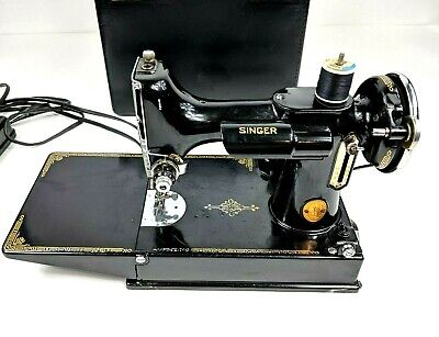 Vintage 1939 Singer Sewing Machine Model 221 Electric Tested Serial #AF259350
