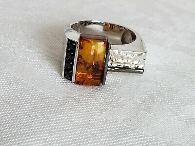 Ring Michael Valitutti Ring Designer Amber Sterling Silver Collectible Fine