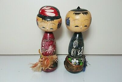 Pair of Japanese Kokeshi Dolls wooden ornament 11.5cm(4.5in)