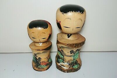 Pair of Japanese Kokeshi Dolls wooden ornament 10.5cm(4.1in), 13.5cm(5.3in)