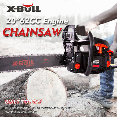 """X-BULL New 62cc Chainsaw 20"""" Bar Petrol Commercial Chain Saw E-Start Pruning"""
