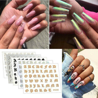 Letter 3D Nail Art Sticker Nail Decal Laser Words Character Nails Sticker Decal